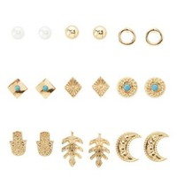 Gold Boho Stud Earrings - 9 Pack by Charlotte Russe