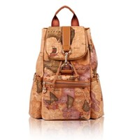 Women Girl Lady Fashion Vintage Faux Leather Ancient Map Style Backpack Bag C54