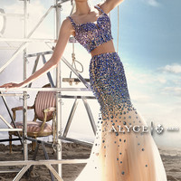 Two Piece Beaded Prom Dress by Alyce