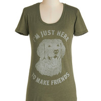 ModCloth Dog Mid-length Short Sleeves Love is Paw You Need Tee