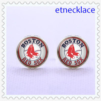 Cufflinks, Boston Red Sox  ,  Baseball Team  Sport cufflinks ,Mens Gift ,vintage  Charm Cufflinks,silvery  Metal cufflinks.