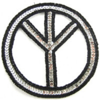 """Peace Sign Silver Sequins Black Beads 5"""""""