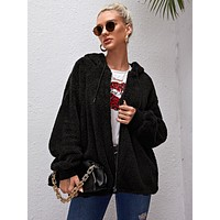 Zip Up Drawstring Hooded Teddy Coat
