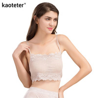 100% Real Silk Women's Tube Tops Femme Shoulder Sleeve Women Sexy Lace Wrap Chest Female Solid Wild Bottoming Woman