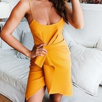 Luna Orange Asymmetrical Dress