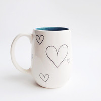 Ceramic Coffee Mug Cup- Ceramics and Pottery - Gifts for her - Teal Ceramics