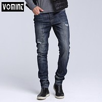 Men jeans Dark Wash Jeans stretch ripped jeans for men Effect Stonewashed High Quality Jeans Denim