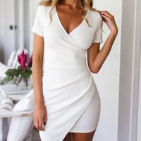 V-neck Short Sleeve Asymmetrical Wrap Bodycon Mini Dress