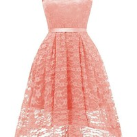 Pink Lace Draped Sashes Bow V-neck Banquet Elegant Party Midi Dress