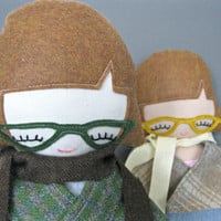 Rag Doll, Hipster Girl Plushie with Whale Tattoo and Glasses
