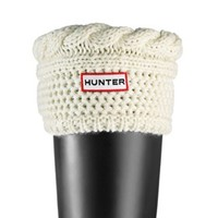Moss Cable Cuff Welly Socks - Cream | Hunter - Mobile