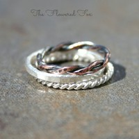 Stacking Ring Set: Sterling Silver Hammered Ring, Copper Rope Ring, Sterling Silver Rope Ring