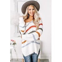 Maxin' Relaxin' Sheer Knit Striped Sweater