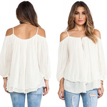 Fall Style Chiffon Long Sleeve Double-layered Ladies Tops Blouse [8906172743]