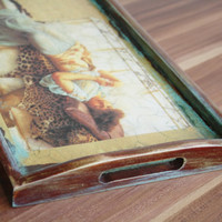 Serving Tray, Wooden Tray, Rustic Kitchen Decor, Vintage Look, Hand Painted and Decorated Decoupage Tehnique