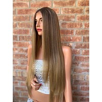 Blonde Balayage Hair with Brown Ombré Roots 0519 Keep on Dancing