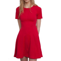 women sweet pleated mini dress fashion o-neck short sleeve stretchy red solid color slim fit office wear dress QZ2323