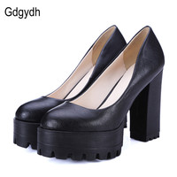 Gdgydh Spring Autumn Casual Shoes Women Thick Heels Platform Pumps Russian Shoes for Women High Heels Work Big Size 42