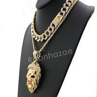 Hip Hop Quavo FEROCIOUS LION Miami Cuban Choker Tennis Chain Necklace L24