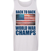 'Back to Back World War Champs' American Flag Tank Top