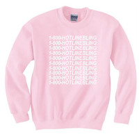 1 800 Hotline Bling Sweatshirt Pullover Light Pink Hotline Bling Sweater