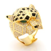 King Ice 14K 3D Gold Leopard Ring