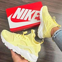 NIKE Air Huarache Middle Tops Wallace 4 Generation Running Sport Sneakers Shoes(5-Color) Yellow I