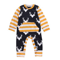 0-24M Newborn Infant Baby Boy Clothes Deer Romper Long Sleeve Cotton Jumpsuit Playsuit Outfits