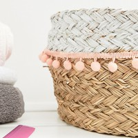 Chickidee Limerence Seagrass Pom Pom Basket at asos.com
