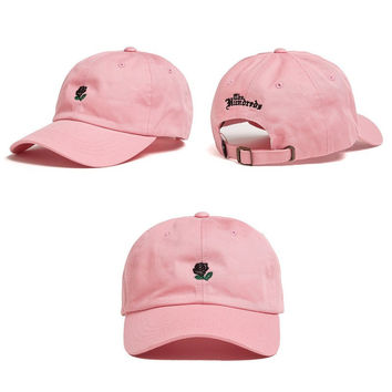 The Hundreds Rose Strap Back Cap Men Women Adjustable Pink Golf Snapback Baseball Hat Casquette