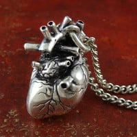 """Gothic Heart Necklace Antique Silver Anatomical Heart Pendant on 24"""" Antique Silver Chain"""