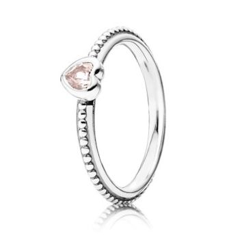 Pandora Silver & Rose Pink Synthetic Sapphire Delicate Heart Ring 190896SLP