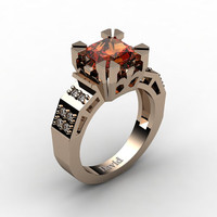 Modern Vintage 14K Rose Gold 2.0 Carat Princess Orange Sapphire Diamond Solitaire Ring R1023-14KRGDOS