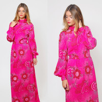 Vintage 70s FUCHSIA Maxi Dress PSYCHEDELIC Printed Mod Dress FLORAL Hippie Caftan