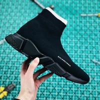 Balenciaga Stretch In Black Knit Speed Trainers With Black Textured Sole Sneaker - Best Online Sale
