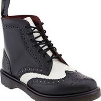 New Handmade men black and white wingtip ankle boot, Men real leather boots, Mens leather boot