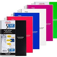 Five Star Spiral Notebook, College Ruled, 5 Subject, 6 x 9.5 Inches, 180 Sheets, Assorted Colors (06184)Pack Of 6