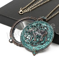 Patina Antique Vintage Design Elephant 5X Magnifying Glass Locket Pendant Necklace