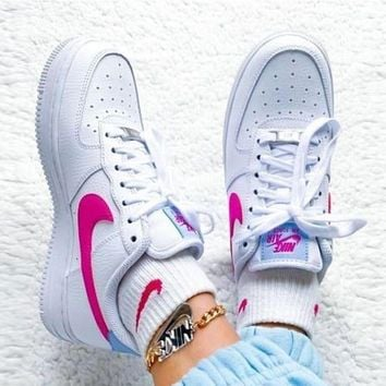 Air Force 1 Nike AF1 JESTER Transformed Crooked Sneakers Flat Shoes Pink hook