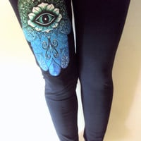 Paisley Hamsa Leggings Hand of Fatima Black Yoga Pants Leggings Workout Tights Meditation Spiritual Leggings Fitness Pants Made to Order