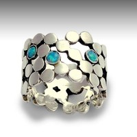 Stone ring - Sterling silver dotted ring set gemstones - lab grown opals - Yet to discover