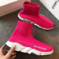 Balenciaga Trainers Sneakers Sock shoes knitting Shoes Rose red
