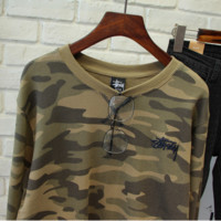 Stussy Pure cotton camouflage couples strong personality leisure garments