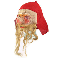 You Better Watch Out - Antique Santa Claus Mask, 1910s 1920s Painted Gauze Fabric, Hair Beard & Mustache, Super Creepy, Scare the Kids
