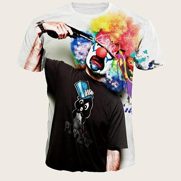 Fashion Casual Men Clown Graphic Tee