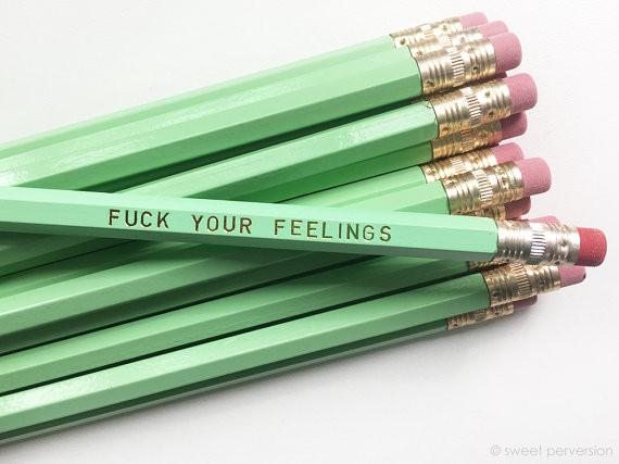 Image of Last Call! Fuck Your Feelings Pencil Set in Mint | Set of 5 Funny Sweary Profanity Pencils