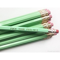 Last Call! Fuck Your Feelings Pencil Set in Mint | Set of 5 Funny Sweary Profanity Pencils