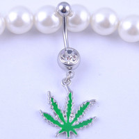 Belly Button Ring - Rhinestone Crystal - Weed Leaf