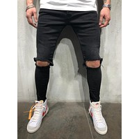Men's Street Style Black Knee Out Jeans 4365