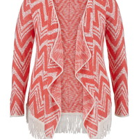 Plus Size - Chevron Stripe Blanket Cardigan With Fringe